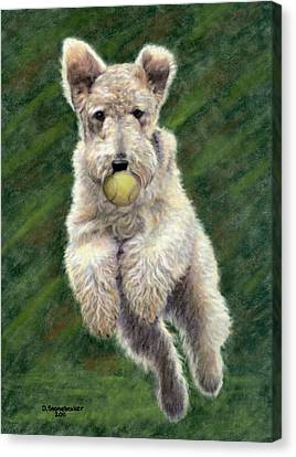 Fox Terrier Canvas Print - When Dogs Fly by Debbie Stonebraker