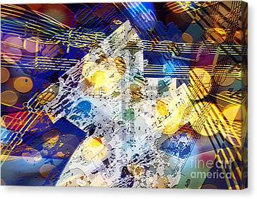 Canvas Print featuring the digital art When Music And Art Embrace by Margie Chapman