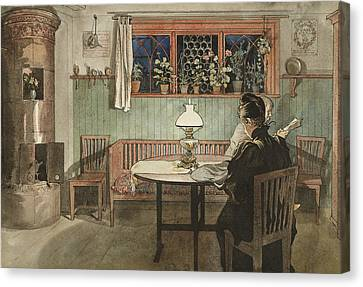 When The Children Have Gone To Bed. From A Home Canvas Print by Carl Larsson