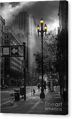 Sanfrancisco Canvas Print - When The Lights Go Down In San Francisco 5d20609 Bw by Wingsdomain Art and Photography