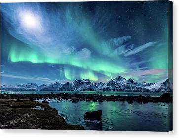 Snow Landscape Canvas Print - When The Moon Shines by Tor-Ivar Naess