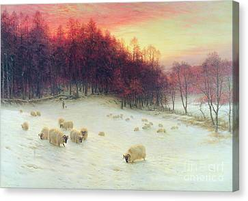 Setting Canvas Print - When The West With Evening Glows by Joseph Farquharson
