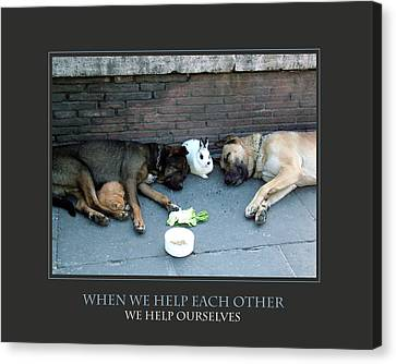 Canvas Print featuring the photograph When We Help Each Other by Donna Corless