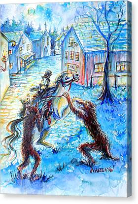 Canvas Print featuring the painting When Werewolves Attack by Heather Calderon