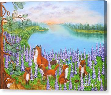 Where Bloom Lupines Canvas Print by Loreta Mickiene