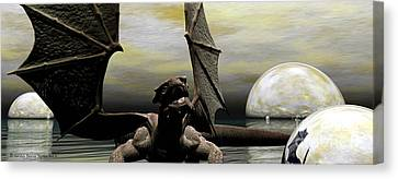 Where Dragons Be Canvas Print by Sandra Bauser Digital Art