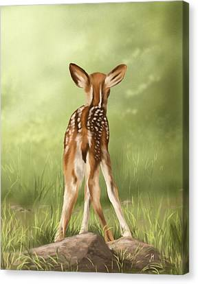 Canvas Print featuring the painting Where Is My Mom? by Veronica Minozzi