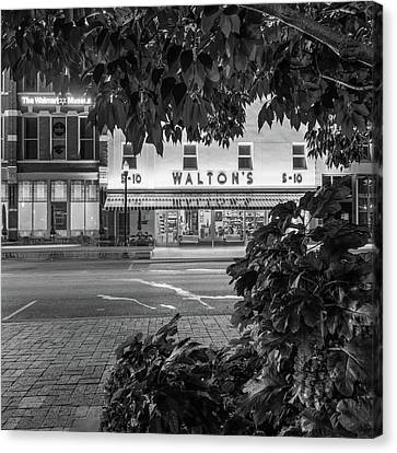 Where It All Began - Sam Walton's First Store - Black And White - Bentonville Arkansas Canvas Print by Gregory Ballos