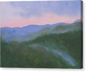 Canvas Print featuring the painting Where Mists Nestle by Trilby Cole