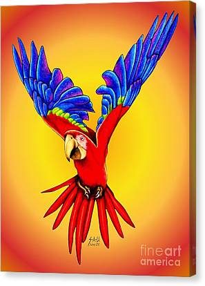 Macaw Canvas Print - Where Was I Suppose To Land by Sheryl Unwin