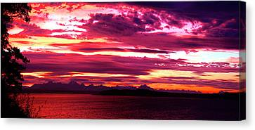 Whidbey Red Sky Morning Canvas Print by Mary Gaines