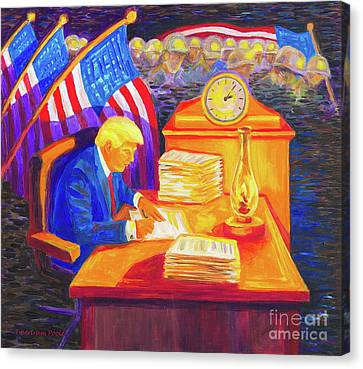 While America Sleeps - President Donald Trump Working At His Desk By Bertram Poole Canvas Print