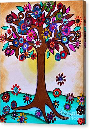 Canvas Print featuring the painting Whimsical Blooming Tree by Pristine Cartera Turkus