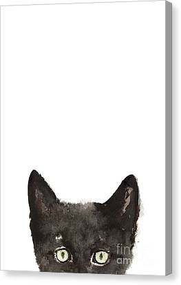 Whimsical Cat Poster, Funny Animal Black Cat Drawing, Peeking Cat Art Print, Animals Painting Canvas Print by Joanna Szmerdt