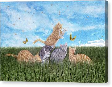Whimsical Cats Canvas Print by Betsy Knapp