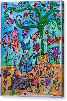 Whimsical Cats Canvas Print by Pristine Cartera Turkus
