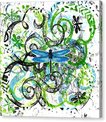 Whimsical Dragonflies Canvas Print by Genevieve Esson