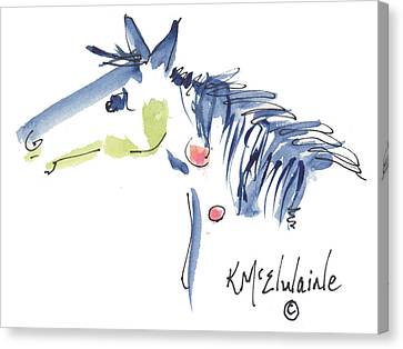 Whimsical Horse Head Watercolor Painting By Kmcelwaine Canvas Print by Kathleen McElwaine