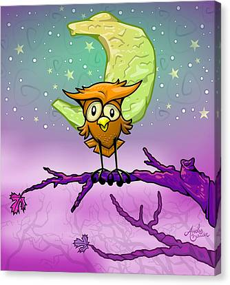 Whimsical Night Owl Canvas Print by Andy Bauer