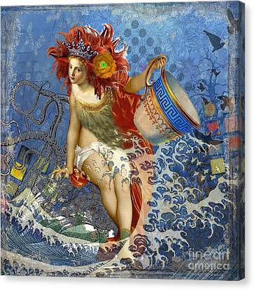 Mermaid Aquarius Vintage Whimsical Gothic Funny Canvas Print by Mary Hubley