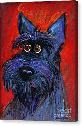whimsical Schnauzer dog painting Canvas Print by Svetlana Novikova
