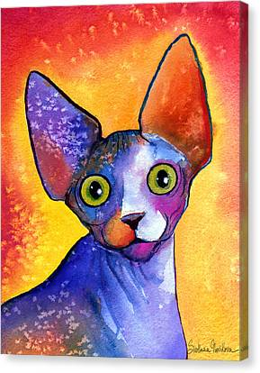 Watercolor Pet Portraits Canvas Print - Whimsical Sphynx Cat Painting by Svetlana Novikova