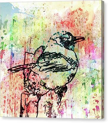 Whimsical Tit Bird Canvas Print