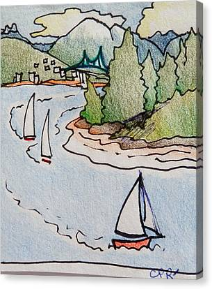 Vancouver Canvas Print - Whimsical Vancouver Yacht Race by Catherine Robertson