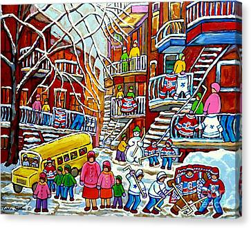Whimsical Winter Wonderland Snowy School Bus Montreal Story Book Scene Hockey Art Carole Spandau     Canvas Print by Carole Spandau