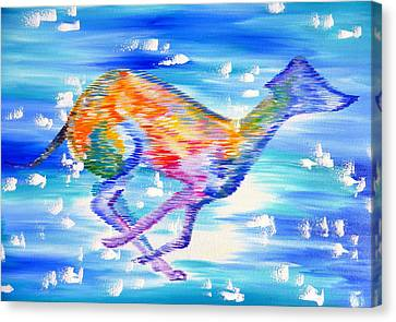 Whippet Canvas Print by Cathy Jacobs