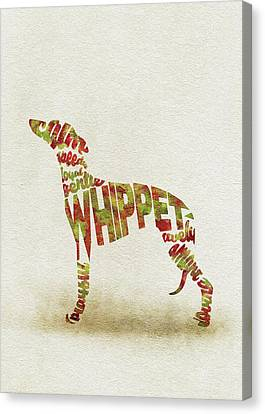 Canvas Print featuring the painting Whippet Watercolor Painting / Typographic Art by Inspirowl Design