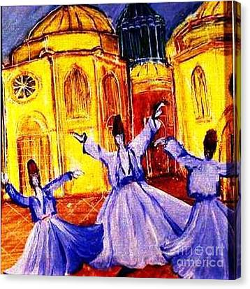 Whirling Dervishes 2 Canvas Print by Duygu Kivanc