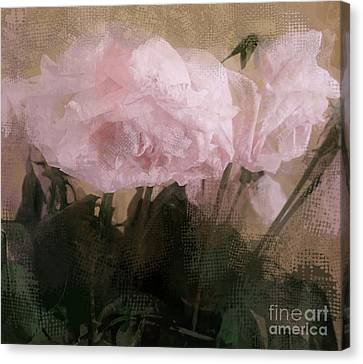 Canvas Print featuring the digital art Whisper Of Pink Peonies by Alexis Rotella