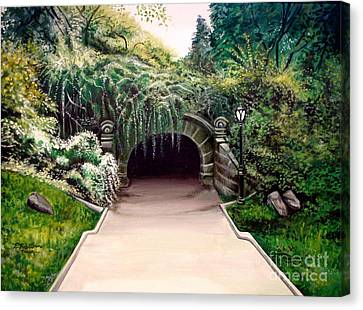 Canvas Print featuring the painting Whispering Tunnel by Elizabeth Robinette Tyndall