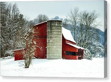 Red Barn In Snow Canvas Print - Whispers Of Winter Wonder by Karen Wiles