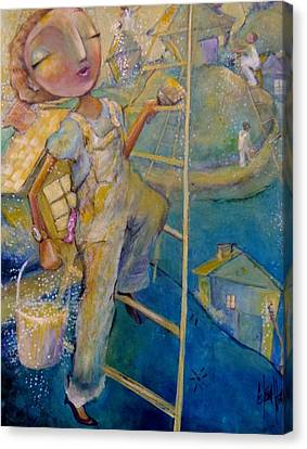 Canvas Print featuring the painting Whistle While You Work by Eleatta Diver