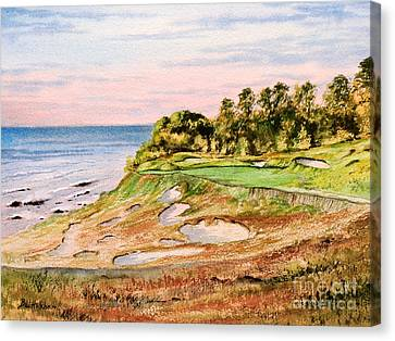 Canvas Print featuring the painting Whistling Straits Golf Course 17th Hole by Bill Holkham