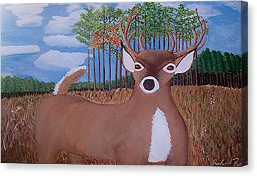 Whit Tall Buck Canvas Print by  Richard  Rollings