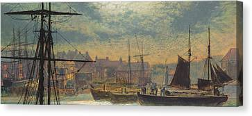 Whitby By Moonlight Canvas Print