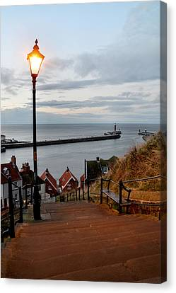 Whitby Steps Blue Hour Canvas Print by Sarah Couzens