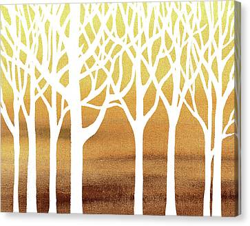 White Abstract Forest Beige Background Interior Decor Canvas Print