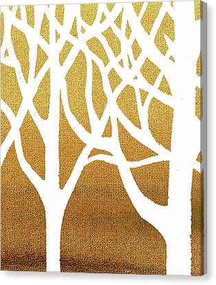 White Abstract Forest Beige Background Triptych A 2of3  Canvas Print