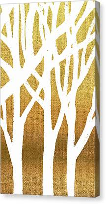 White Abstract Forest Beige Background Triptych A 3of3 Canvas Print