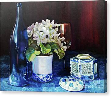 White African Violets Canvas Print by Marlene Book