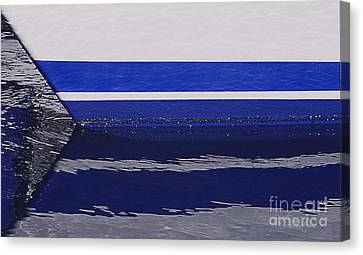 White And Blue Boat Symmetry Canvas Print