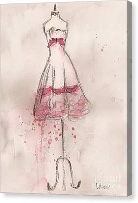Loose Watercolor Canvas Print - White And Pink Party Dress by Lauren Maurer
