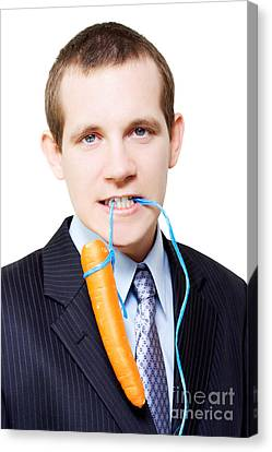 White Background Business Person Dangling A Carrot Canvas Print by Jorgo Photography - Wall Art Gallery