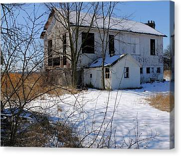 Canvas Print featuring the photograph White Barn by Scott Kingery