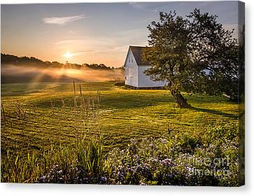Maine Barns Canvas Print - White Barn Sunrise by Benjamin Williamson
