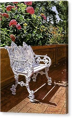 White Bench With Hydrangeas Canvas Print by David Lloyd Glover